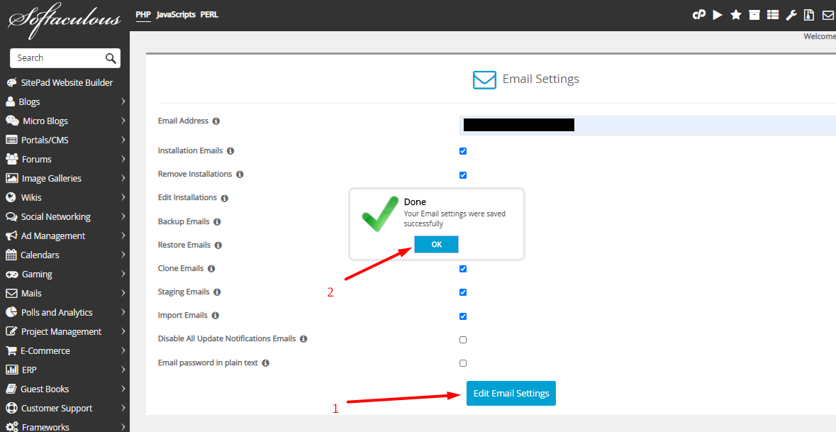 Softaculous save email settings
