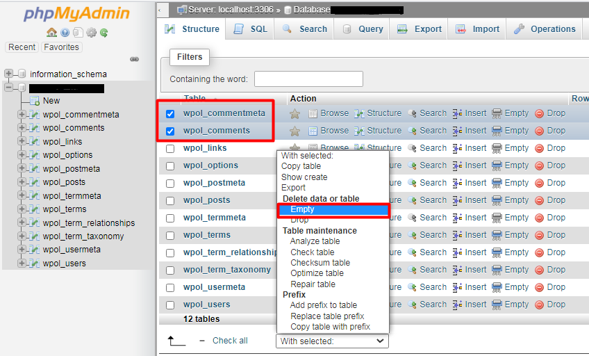phpmyadmin database tables