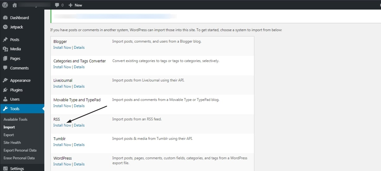 import RSS feed and export to Wordpress
