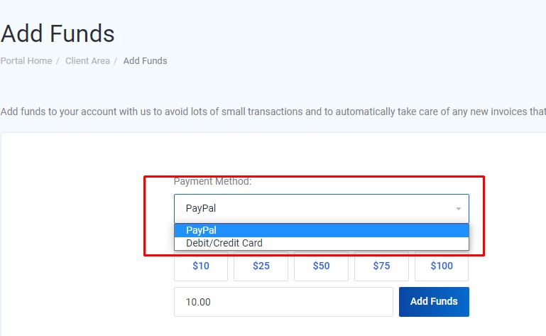 Add funds payment method