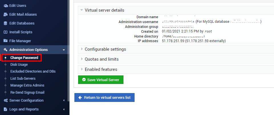 Admin Options in virtualmin