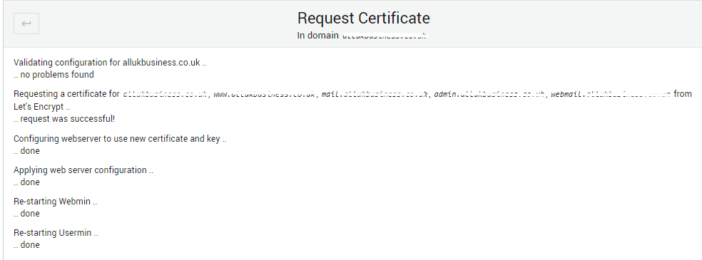 SSL certificate installed sucessfully