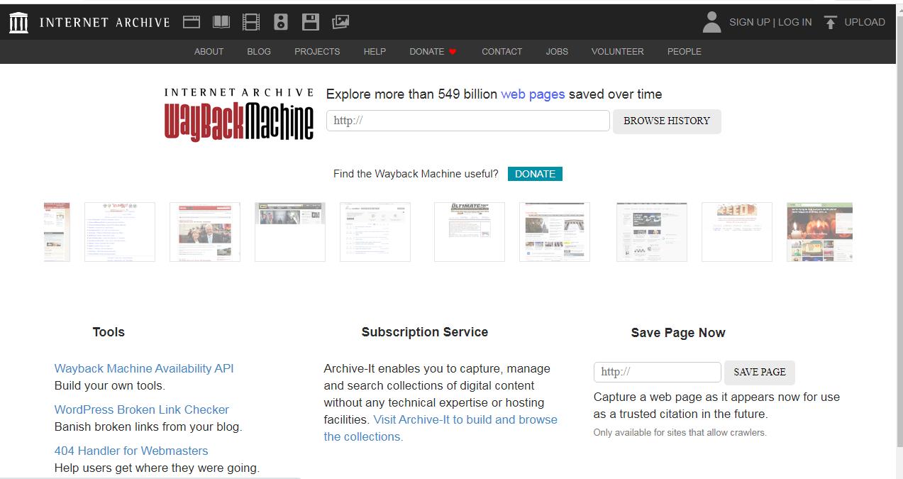 Wayback machine interface