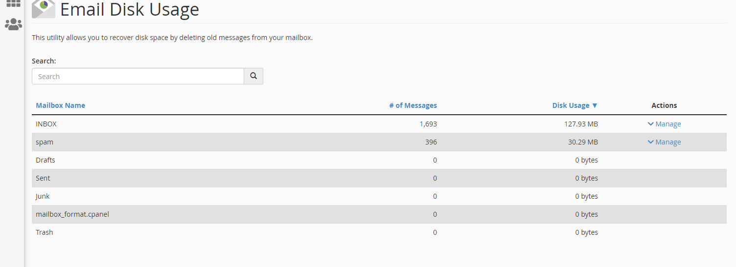Email disk usage page