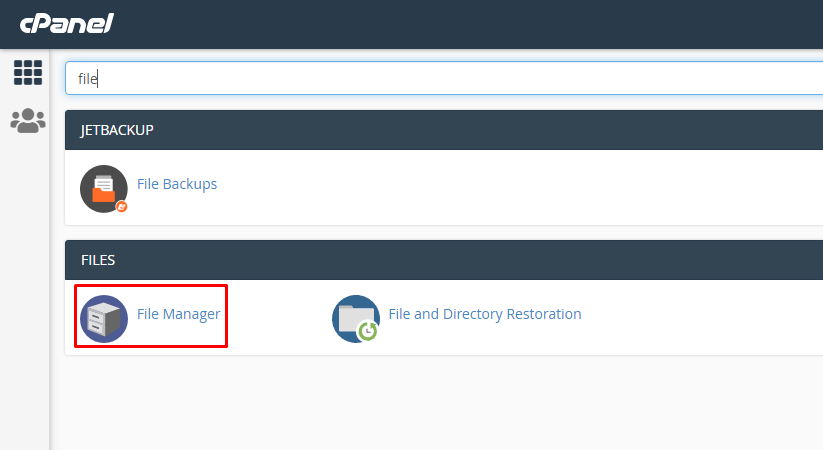File manager option in cPanel