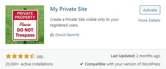 make WordPress site private