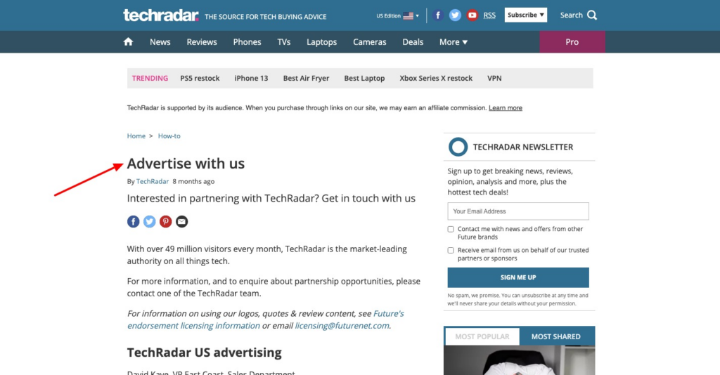 Advertise With Us WP Page
