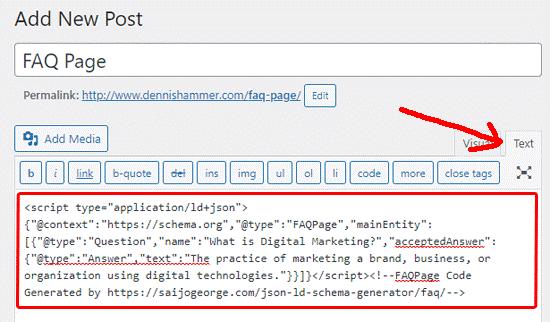 Classic Editor - FAQ Schema code
