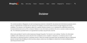 Disclaimer in WordPress Blog