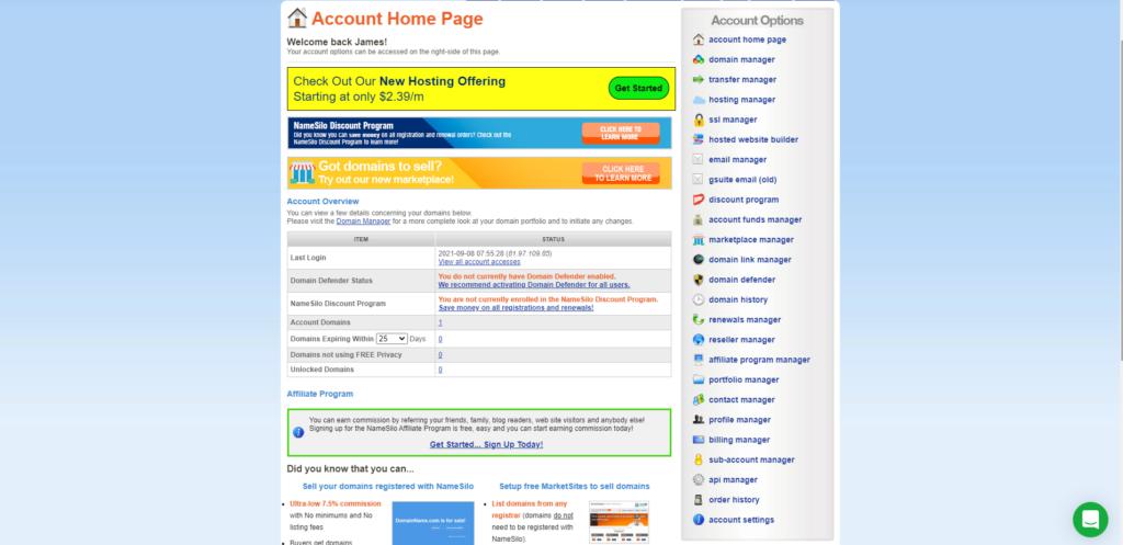 alternative namesilo domain registration