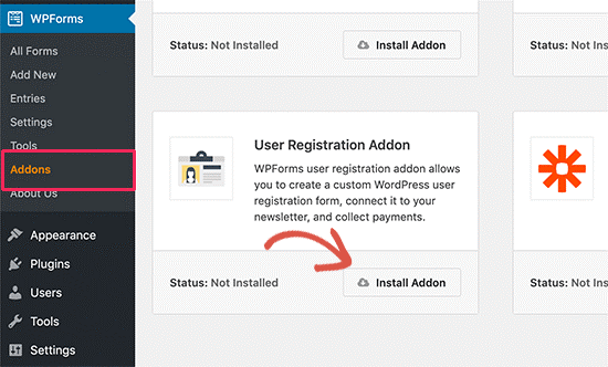 Addons and User Registration in WP Forms
