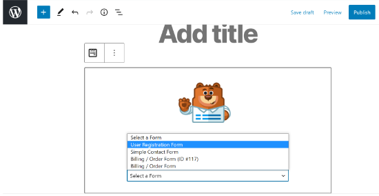 Import WPForms in Post-Page
