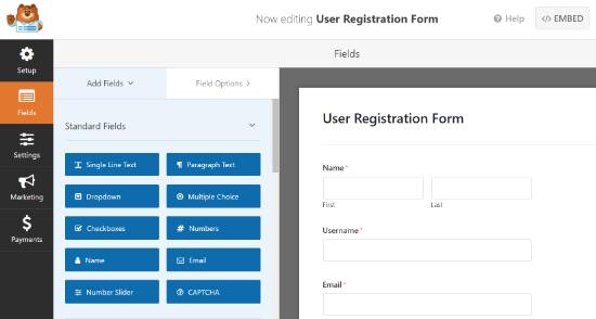 Manage Registration Form