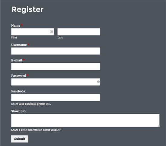 Registration Form in Gutenberg