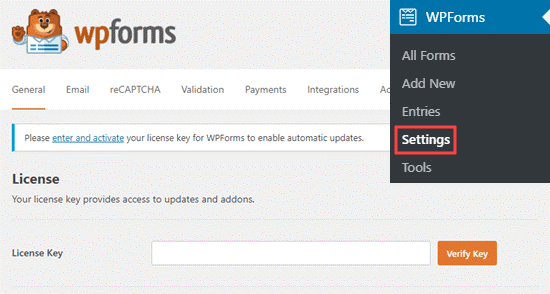 WP forms Settings