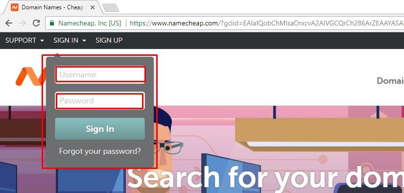 namecheap login page