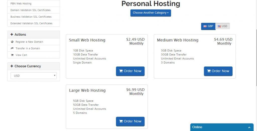 personal hosting