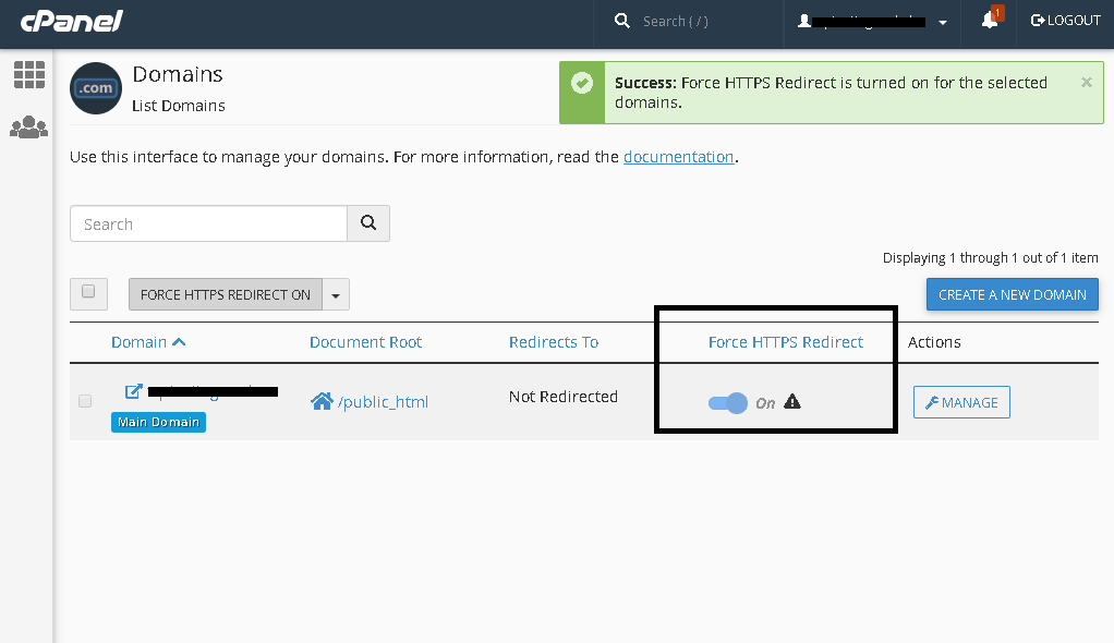 Enabling Force Redirection in cPanel
