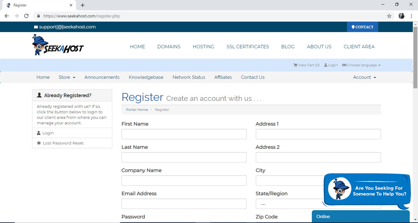 Client Registration Page