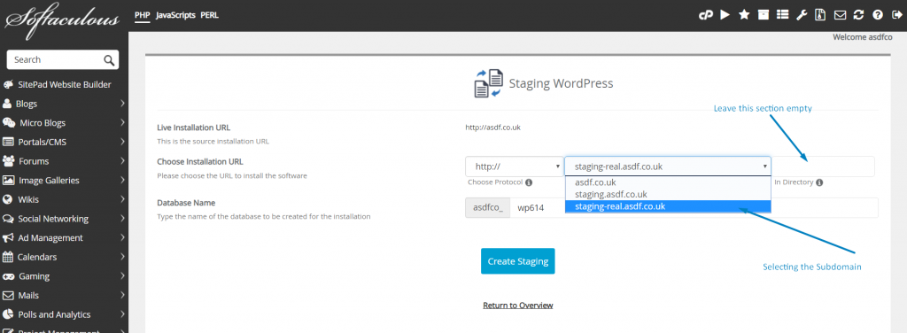 Staging WordPress Website Using Softaculous
