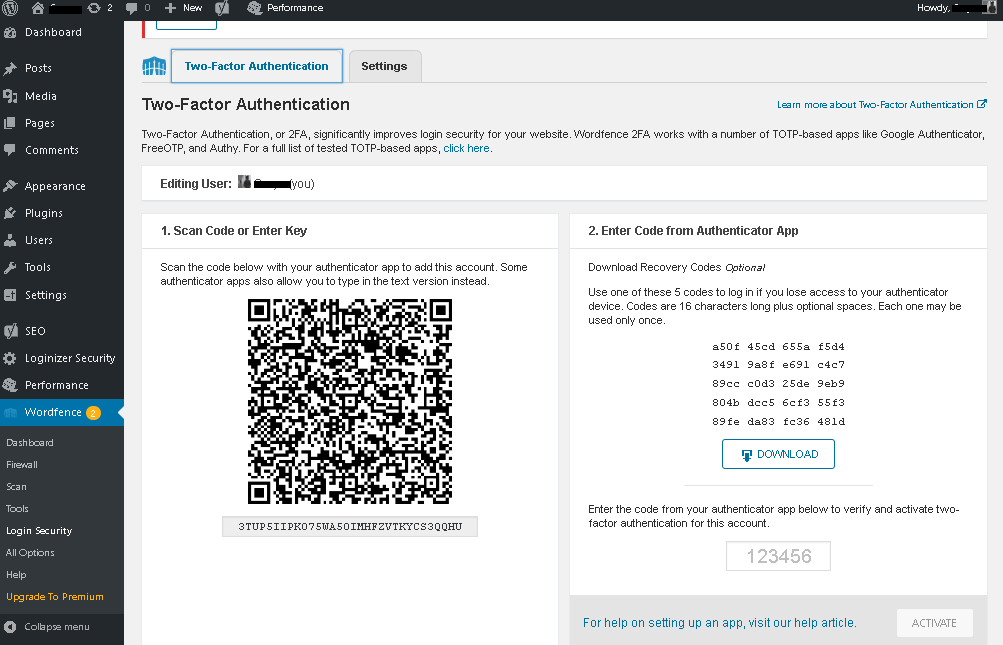 2F authentication page